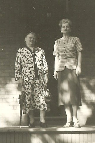 Vera and her mother Sarah (Alexandra) Meznekoff on Russell Ave in Ottawa. 1950s