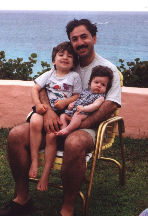 Bermuda, 1995. With father and older brother, Alex.