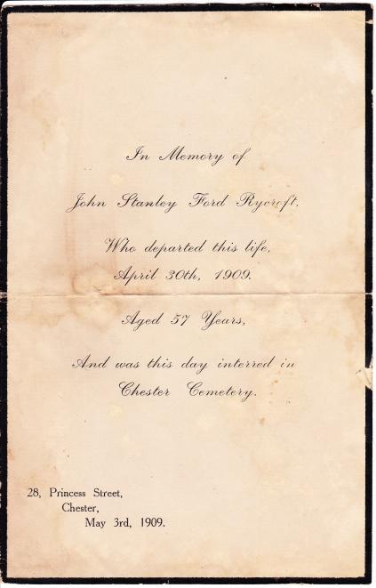 In Memory of John Stanley Ford Rycroft.
