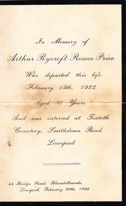 In Memory of Arthur Rycroft Roscoe Price