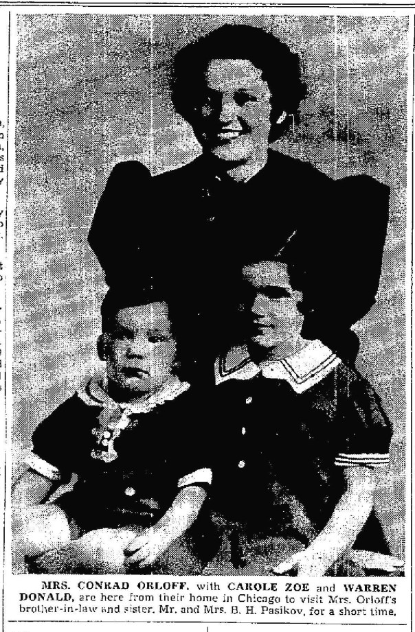 Lally, Carole, and Warren Visiting family in Winnipeg, Aug 1937. (Winnipeg Free Press)