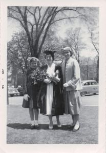 Aunts Joyce, Edith, and Lilian at Edith's graduation from University of Toronto, 1956.