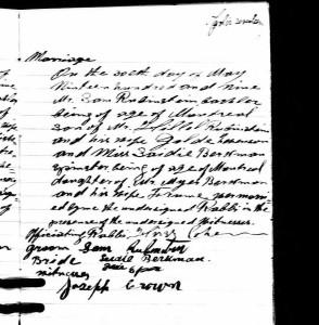 Marriage of Sadie Berkman and Samuel Rubenstein, Lachine QU, 1909, Beth Israel.
