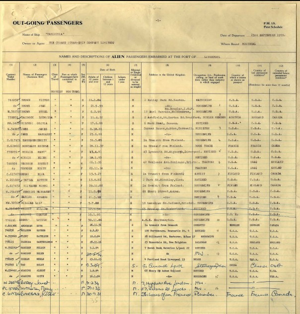 Incoming Passenger list for the Carinthia Cunard), sailing 23 Sept 1959. Liverpool to Montreal